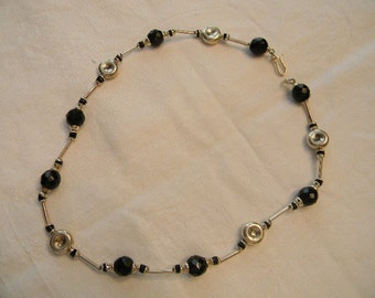 "Elegant Classic 925 Sterling Silver Black Faceted Beads Chain Necklace 18"" Long Marked 925 20.0g #93"