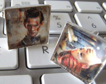 Amy Pond & 11th Doctor Asylum of the Daleks Coordinating Cufflink Set- Doctor Who