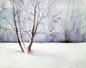 "Winter Tree, ORIGINAL WATERCOLOR, 10 x 14"", Signed by Gennifer Richie - WatercolorsByGen"