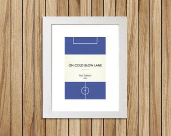 "Book Clubs: ""Millwall"" A4 Football Print in blue."