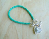 Turquoise bead bracelet with Silver Heart Crystal Toggle -Ready to Ship