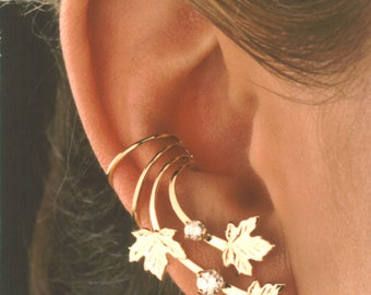 Ear Cuff Maple Leaves & 2 CZs NonPierced Gold Vermeil or Sterling Silver  #4X-ML-CZ