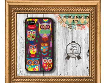 Colorful Owls iPhone Case, Cute Owl iPhone, Plastic iPhone Case, iPhone 4, 4s, iPhone 5, 5s, 5c, iPhone 6, 6 Plus, Phone Case, Phone Cover