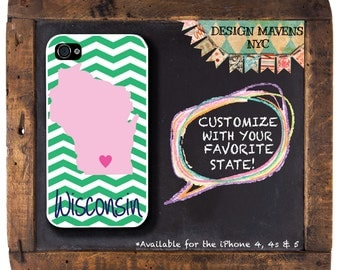 Personalized iPhone Case, State Love Wisconsin Plastic iPhone Case, iPhone 4, iPhone 4s, iPhone 5, Phone 5s, iPhone 5c, iPhone 6, Phone Case