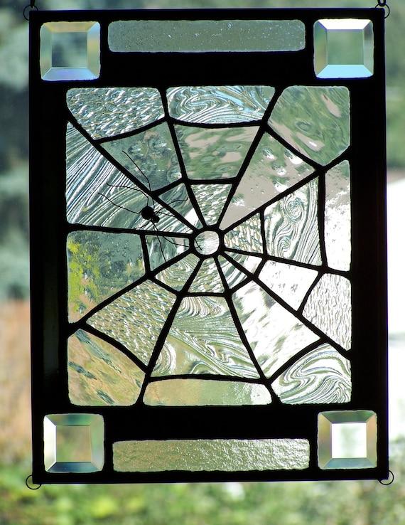 Halloween Stained Glass Spiderweb Panel Suncatcher Window Decor