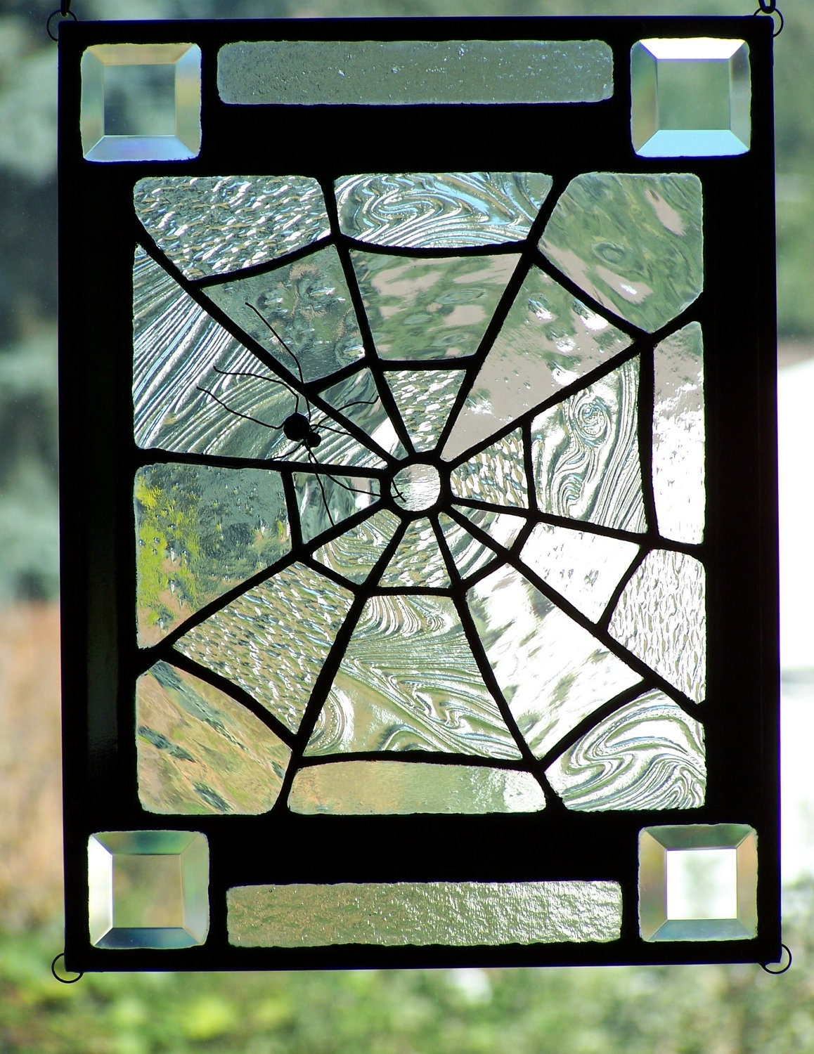 Halloween Stained Glass Spiderweb Panel Suncatcher by SujuGlassArt