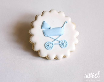 Baby Boy Vintage Pram Cookie Favors  // One Dozen Sugar Cookies