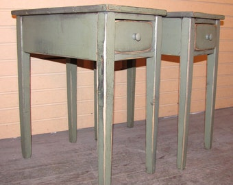 TWO Distressed Shaker End Tables  with Drawers - Rustic Cottage Style -Color Choice