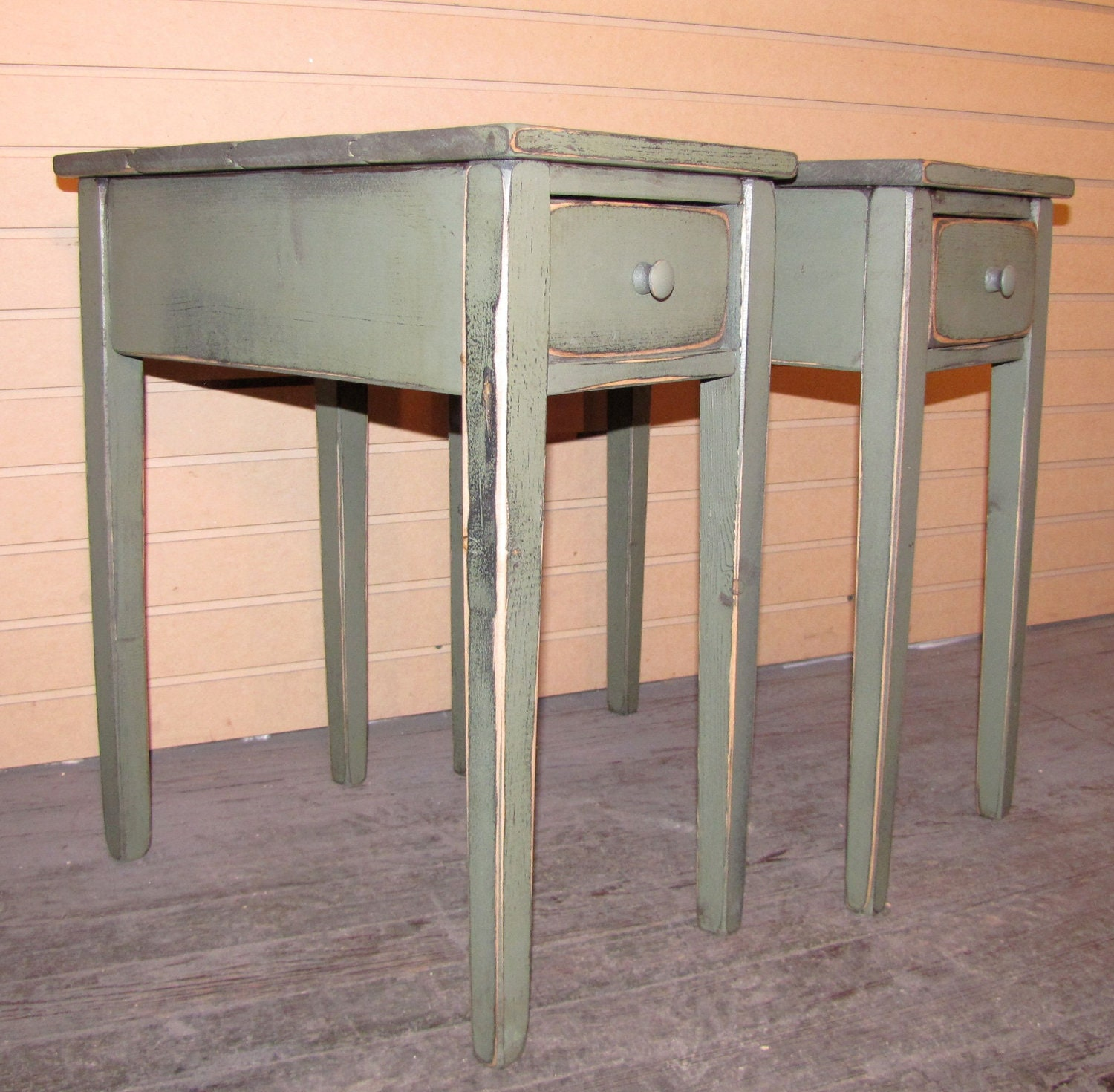 Details. Set Of TWO Primitive Shaker End Table ...