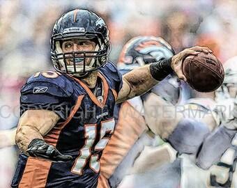 New Tim Tebow Denver Broncos Jets Illustration/ Print sn only 50, 12 x 18
