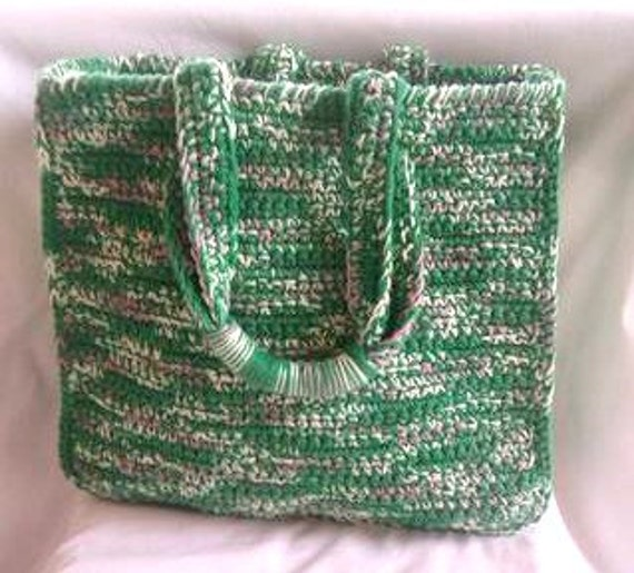 Crochet Tote Bag Green Market, Beach, Grocery, Everyday Handy Tote Bag