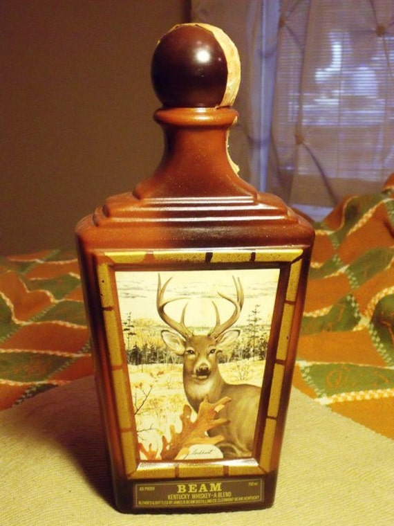 Jim Beam Decanter empty with White tailed Deer Artwork 1