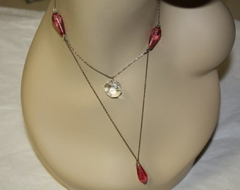 Upcycled Antique Pink Glass Beads and Crystal Necklace Sterling Silver