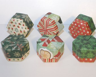 Set of 6 Christmas Origami Hexagon Boxes with Lids