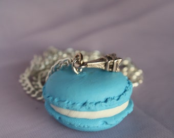 French Macaroon necklace with mini eiffel tower charm