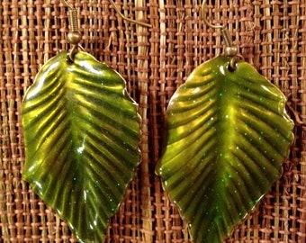 Enamel Dark Green Leaf Earrings