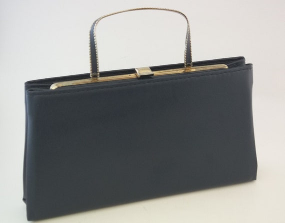 Purse Handbag Leather Navy Blue Clutch Kelly style 1950s with Metal ...
