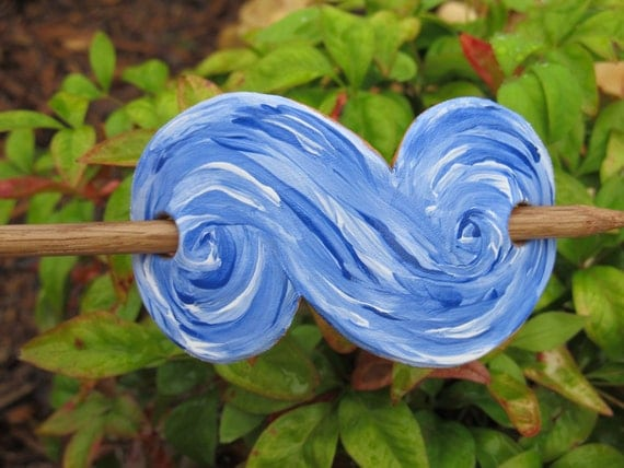 Hand Painted Leather Wave Hair Barrette