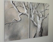 Gnarled Branches, Tree Painting set, canvas original, HUGE wall art, 36x48