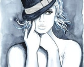 Print from Original Watercolor Fashion Illustration Modern Art Painting titled Playful Hat N.2