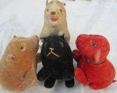 SALE- reduced Rare primitive velvet velveteen antique lot Pig Tiger red Dog Bear pin cushion glass eyes 1900s animal plush toy m6 rr