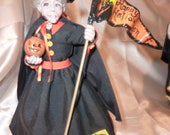 OOAK Polymer Clay Witch Samantha 9 inches tall, hand sculpted doll, witch