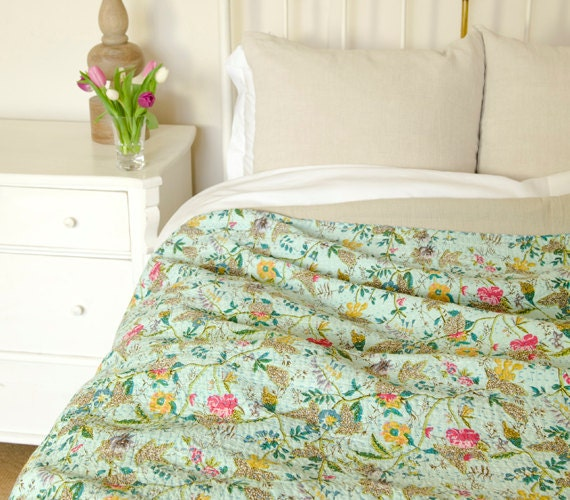 Turquoise Paradise Bedspread or Throw - Single (Double, King, Super King also available)