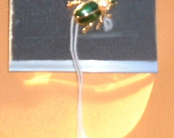 Green Beetle Bug Enamel Metal Pin Jewelry On Card Never Used Made In England