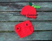 Pumpkin hat and diaper cover-Newborn Photo Prop-Newborn to 24 Months