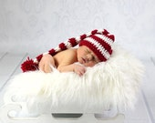 Instant Download Crochet Pattern-Stripped Elf Hat crochet pattern- Photography Prop-Size Newborn to 12 Months ( not a finished product)
