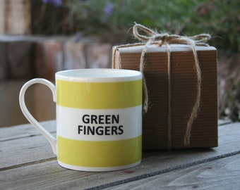 Green Fingers Hoop Mug (pictured in light green)