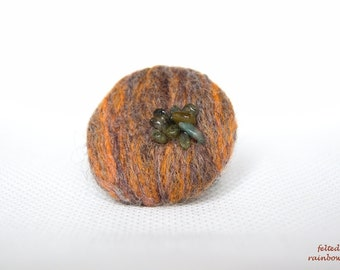 Round Autumn Brooch, Brown and orange, Fall color palette, Tourmaline stones, Eco friendly jewelry