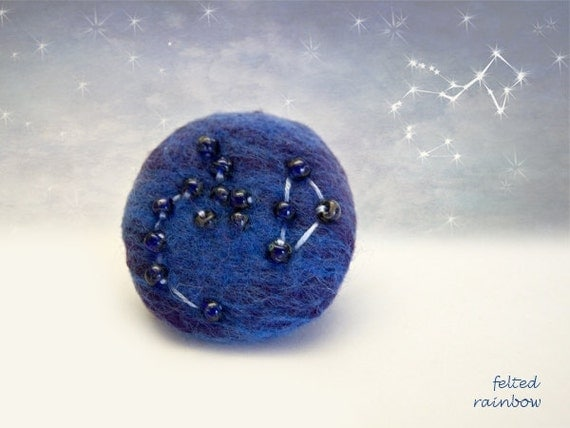 Gift for Sagittarius, Needle felted brooch, Constellation brooch, Sagittarius Zodiac, Sagittarius brooch, Travertine stones, Blue Brooch