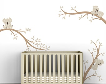 Kids Wall Decal Beige and Light Brown Baby Room Decor - Koala Tree Branches by LittleLion Studio