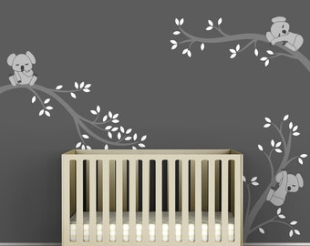 Children's Wall Decal Gray and White Baby Room Decor Decal - Koala Tree Branches by LittleLion Studio