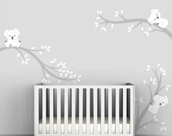 Kids Wall Decals White Tree Decals Gray and White - Koala Tree Branches by LittleLion Studio
