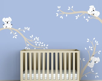 White Wall Decal Tree Branches Koala Bear Blue Wall Decor - Koala Tree Branches by LittleLion Studio