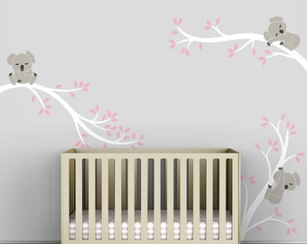 Kids Grey Pink Wall Sticker Decal Decor Baby Room Modern Nursery - Koala Tree Branches by LittleLion Studio