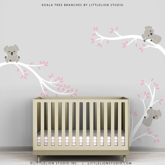 Kids grey pink wall sticker decal decor baby room modern for Baby room decoration wall stickers