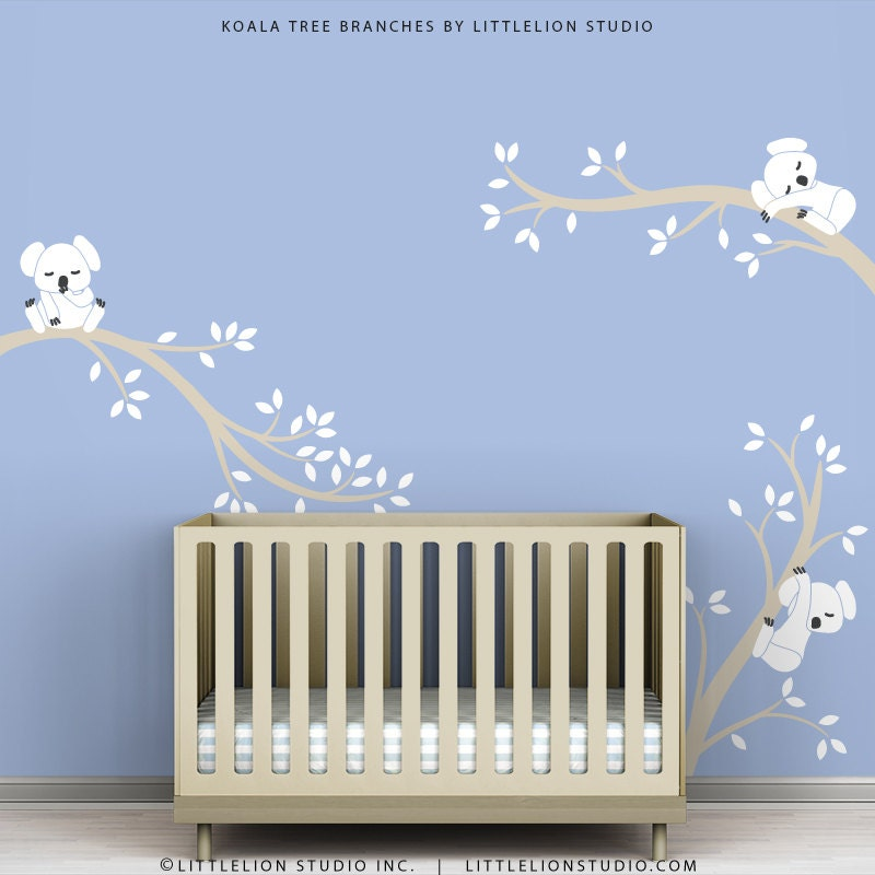 White Wall Decal Tree Branches Koala Bear Blue by TheKoalaStore