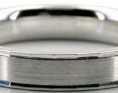 Mens 10K White Gold Wedding Band Ring  4MM Wide  Sizes 4-12  Free Engraving  New