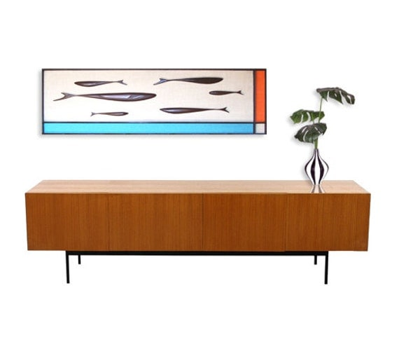 mid century modern art fish wall sculpture painting retro. Black Bedroom Furniture Sets. Home Design Ideas