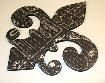 Fleur de lis wall decor , Black and cream wall decor, French decor, Fleur de lis wall art