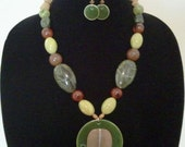 Green & Brown Multi Color Necklace Set