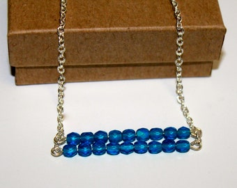 Blue Beaded Bar Necklace