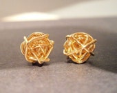 Earrings - Gold Wire Knot Stud Earrings - Knot Earrings - Handmade Jewelry