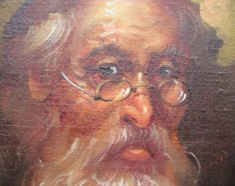 Rabbi Oil Painting Signed On Canvas Framed