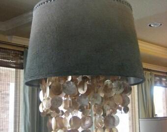 Dripping Capiz Shell Chandelier & Shade - custom optional -