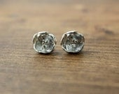 Gorgeous Bright Silver Peony Stud Earrings - READY TO SHIP
