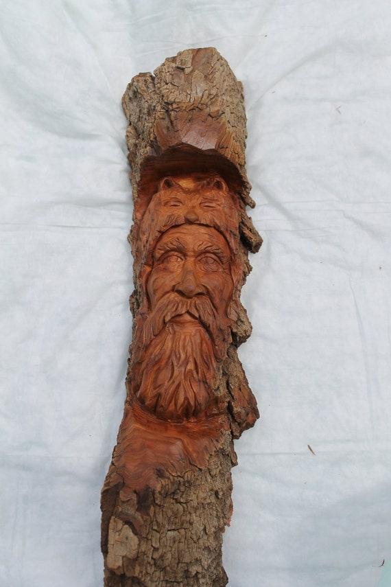 Jeremiah cottonwood bark carving ooak by georgewoodcarving